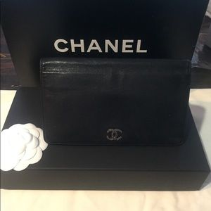 Chanel Black Caviar Wallet With Chain